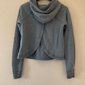 Hot Topic Tops - Open-back grey waffle hoodie from Hollister